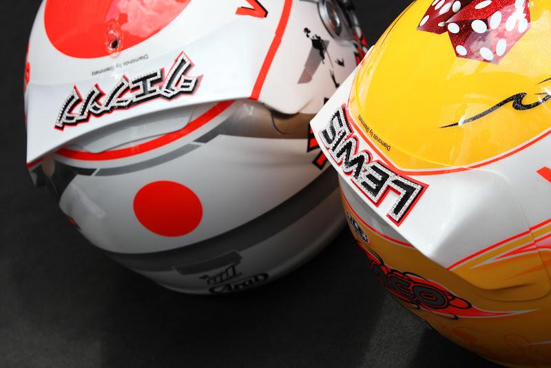 шлема Льюиса Хэмилтона и Дженсона Баттона с бриллиантами Steinmetz Diamonds специально для Гран-при Монако 2011