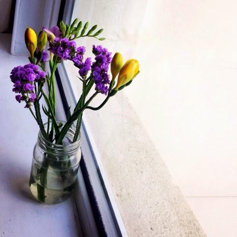 Jam Jar flowers on window seal