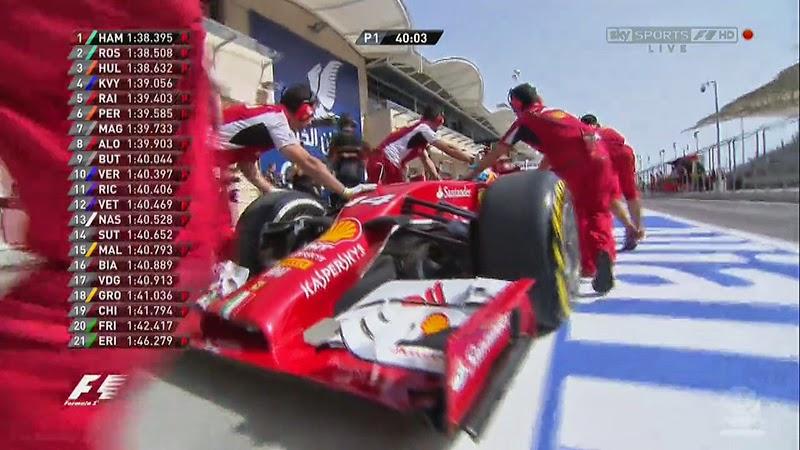 механики Ferrari отталкивают болид Фернандо Алонсо назад в боксы во время первой сессии свободных заездов на Гран-при Бахрейна 2014
