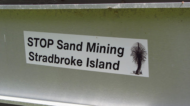 Sand Mining forms the basis of the island's economy. There are proposals to turn the island into protected parkland and close the mining operations, but many locals oppose these.