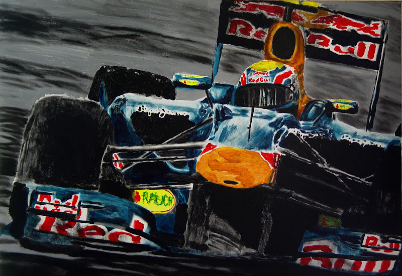 рисунок Марк Уэббер Red Bull на Гран-при Монако 2011 by Andries van Overbeeke