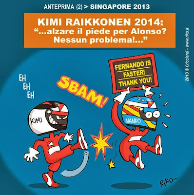 Кими Райкконен поднимает ногу с педали газа ради Фернандо Алонсо - комикс Riko