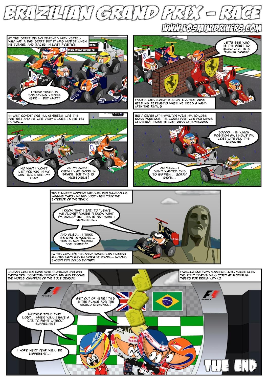 комикс Los MiniDrivers по гонке на Гран-при Бразилии 2012