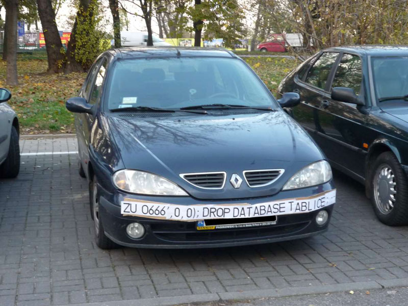 Car with SQL injection taped to the front
