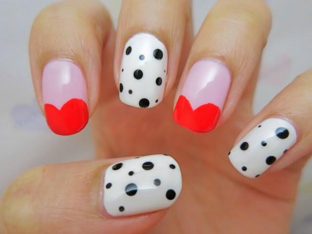 Half Hearts Fun Valentine's Nail Art