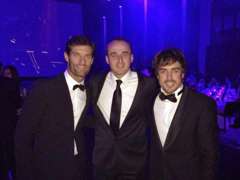 Марк Уэббер, Роберт Кубица и Фернандо Алонсо на церемонии FIA Prize Giving Gala 2013