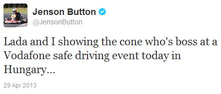 Дженсон Баттон об опыте вождения Лады в твиттере 29 апреля 2013