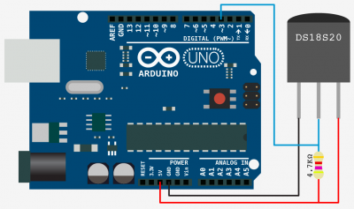 Arduino and DS18B20 Schematic Wiring Example