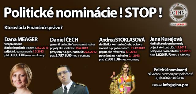 Politické nominácie vo Finančnej správe, Dana Meager, Daniel Čech, Andea Stoklasová