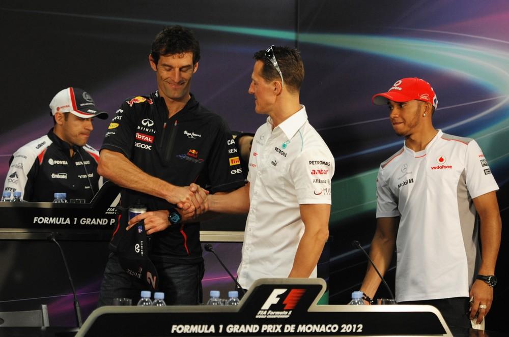 пилоты на пресс-конференции в среду на Гран-при Монако 2012