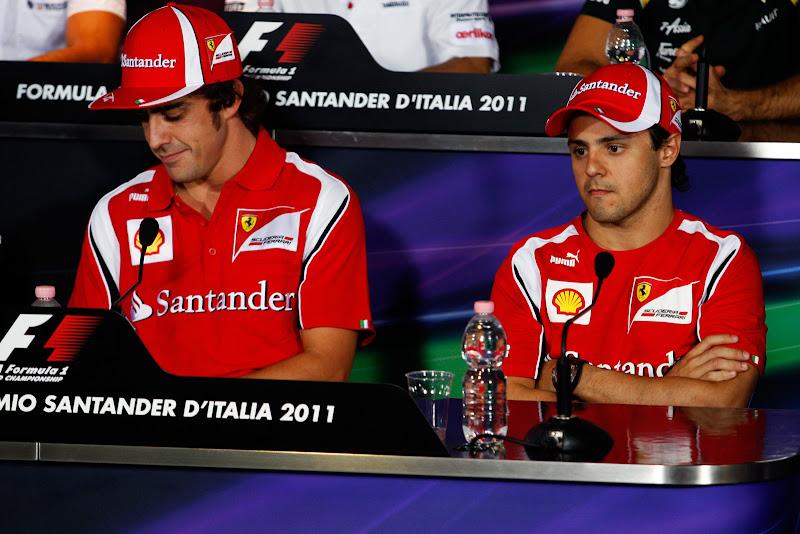 Фернандо Алонсо и Фелипе Масса на пресс-конференции Гран-при Италии 2011 в Монце