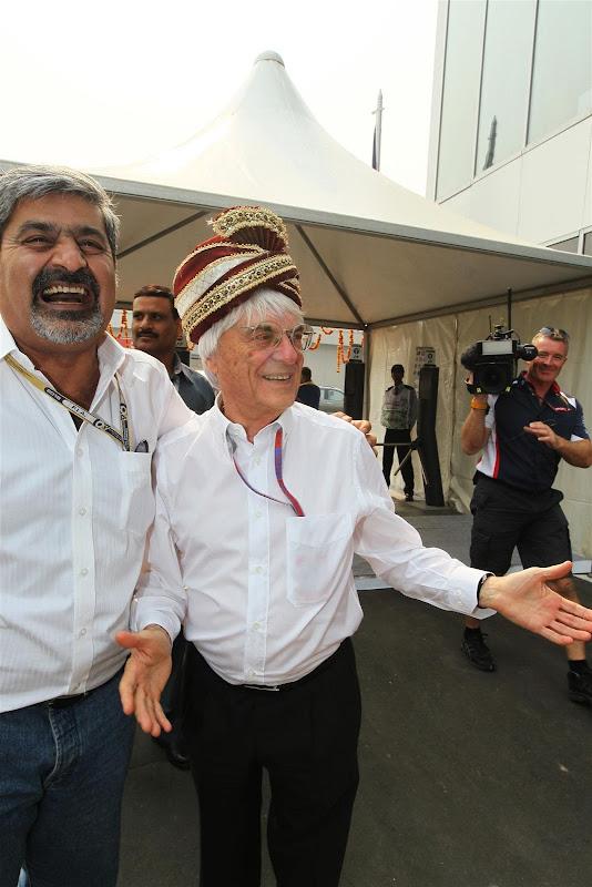 Берни Экклстоун и Вики Чандхок на Гран-при Индии 2012