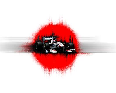 арт Камуи Кобаяши и Sauber C30 2011 на фоне красного круга