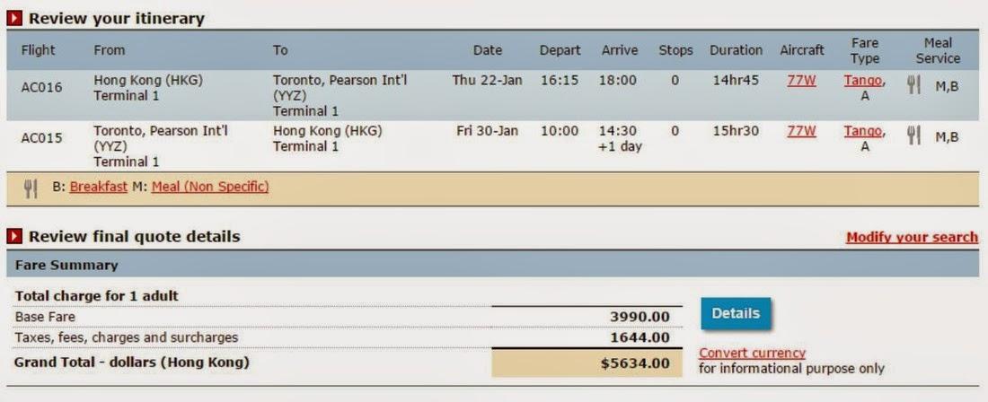加拿大航空香港往返 多倫多 $3,990起 (連稅$5,634)