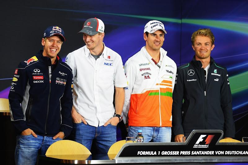 Себастьян Феттель, Нико Хюлькенберг, Адриан Сутиль и Нико Росберг на пресс-конференции в четверг на Гран-при Германии 2013