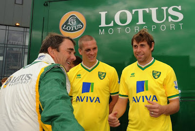 Group Lotus Brand Ambassador Nigel Mansell with Steve Morison and Grant Holt