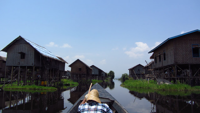 Stilted houses on Lake Inle.