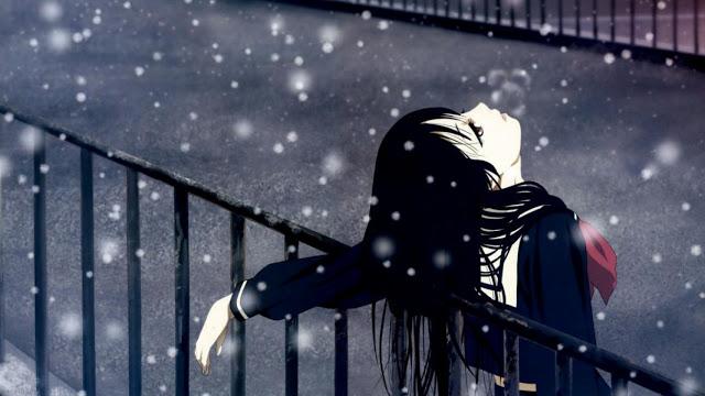 Ảnh chàng trai buồn trong mùa đông tuyết rơi