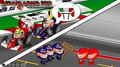 Себастьян Феттель опережает Фелипе Массу за счет пит-стопа - Los MiniDrivers по гонке на Гран-при Германии 2011 на Нюрбургринге