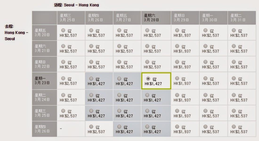 真航空香港飛首爾來回機票$1,098起(連稅$1,427)
