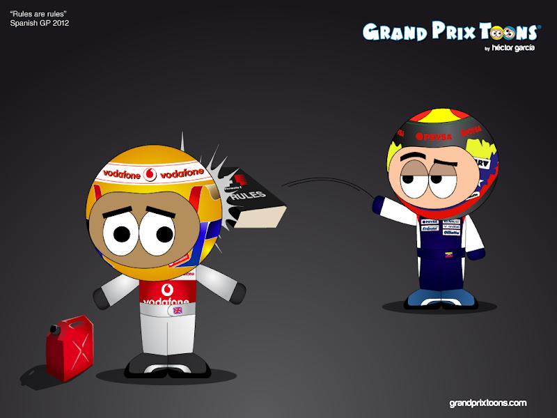 Льюис Хэмилтон уступает поул Пастору Мальдонадо - комикс Rules are rules Grand Prix Toons Гран-при Испании 2012