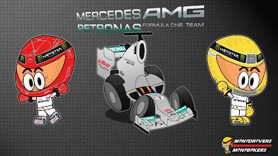 пилоты Mercedes Михаэль Шумахер и Нико Росберг - Los MiniDrivers 2012