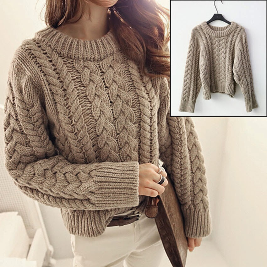 ROUND NECK PLAITED SWEATER WOMEN KHAKI CHUNKY CABLE KNIT BRAIDED ...