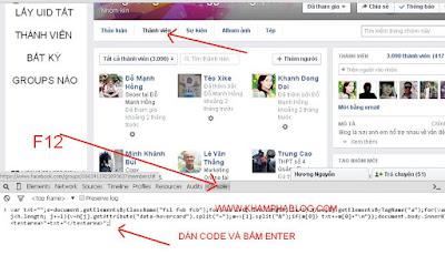 cách lấy uid tất cả thành viên groups bất kỳ facebook