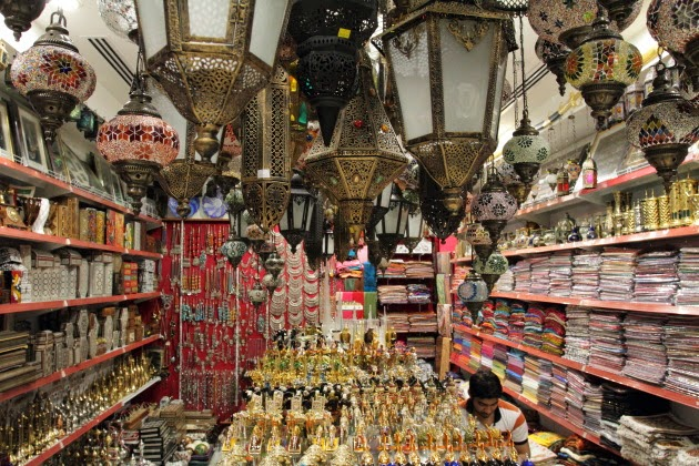 Inside a souvenir shop at central souk, abu dhabi