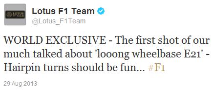 твиттер команды о длиннобазной версии Lotus E21