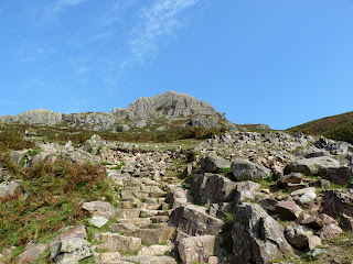 A stony path with Pavey Ark