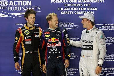 Ромэн Грожан, Себастьян Феттель и Нико Росберг после квалификации на Гран-при Сингапура 2013