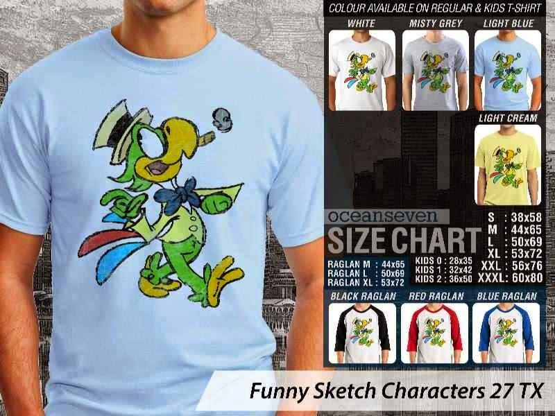 Kaos Kartun Lucu Funny Sketch Characters 27 kartun distro ocean seven