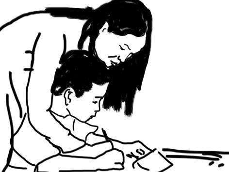 Ảnh cô giáo hướng dẫn học sinh viết chữ thật ý nghĩa