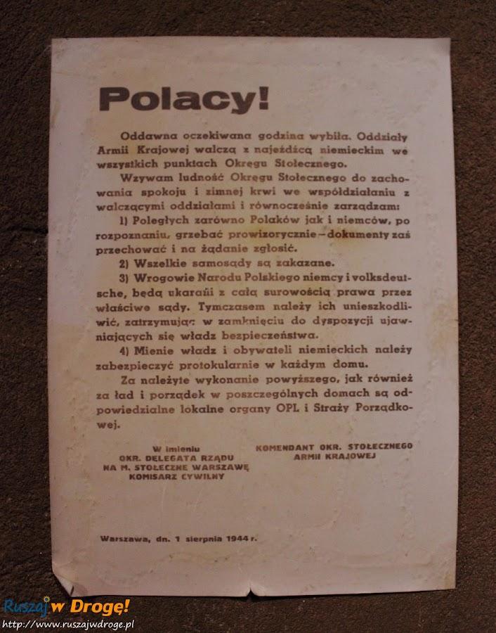 muzeum powstania warszawskiego - wydrukowana odezwa do powstańców
