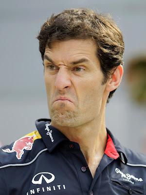 Марк Уэббер кривит лицом на Гран-при Малайзии 2013