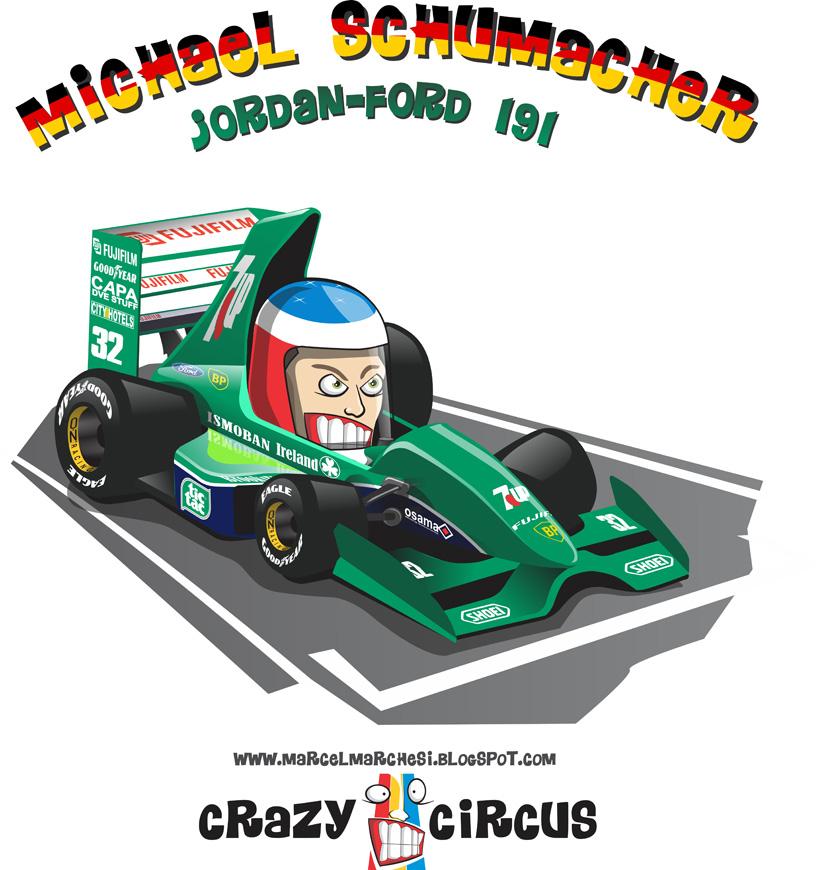 дебют Михаэля Шумахера за рулем Jordan-Ford 191 на Гран-при Бельгии 1991 - карикатура Crazy Circus Marchesi Design
