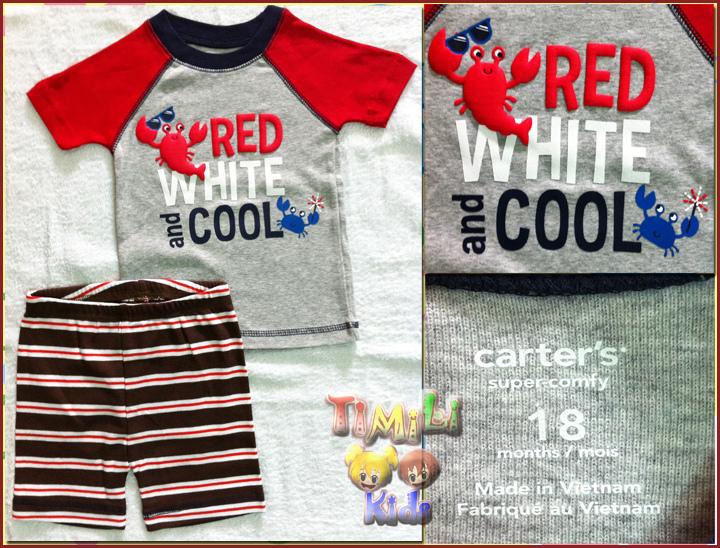 Bộ bé trai Child of mine - một nhãn hàng của Carter's- màu xám đỏ, hình con tôm, việt nam xuất khẩu.