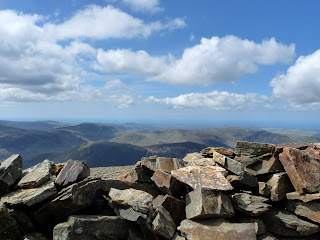 Grasmoor summit shelter looking over to Mellbreak and beyond