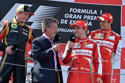 Кими Райкконен Эдди Джордан Фернандо Алонсо Фелипе Масса на подиуме Гран-при Испании 2013