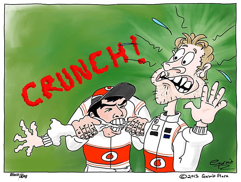 Серхио Перес грызет руку Дженсона Баттона - комикс Black Flag по Гран-при Бахрейна 2013