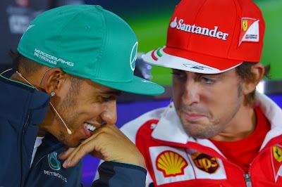 Льюис Хэмилтон и Фернандо Алонсо на пресс-конференции в четверг на Гран-при Китая 2014