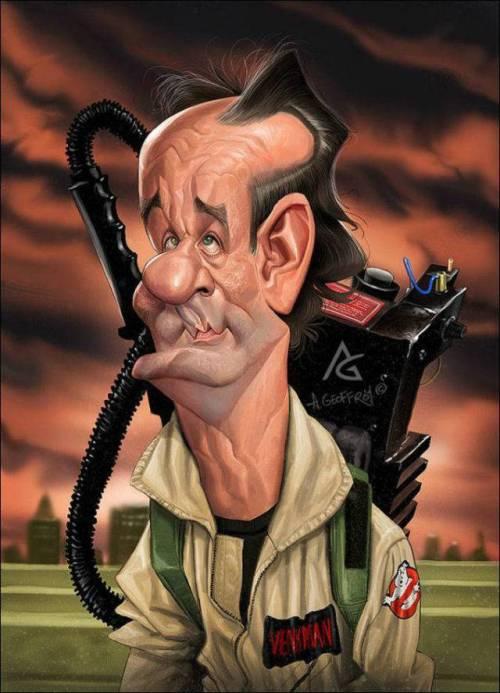 Билл Мюррей - Охотники за привидениями - 18 юмористических карикатур на знаменитостей из 15 известных кинолент