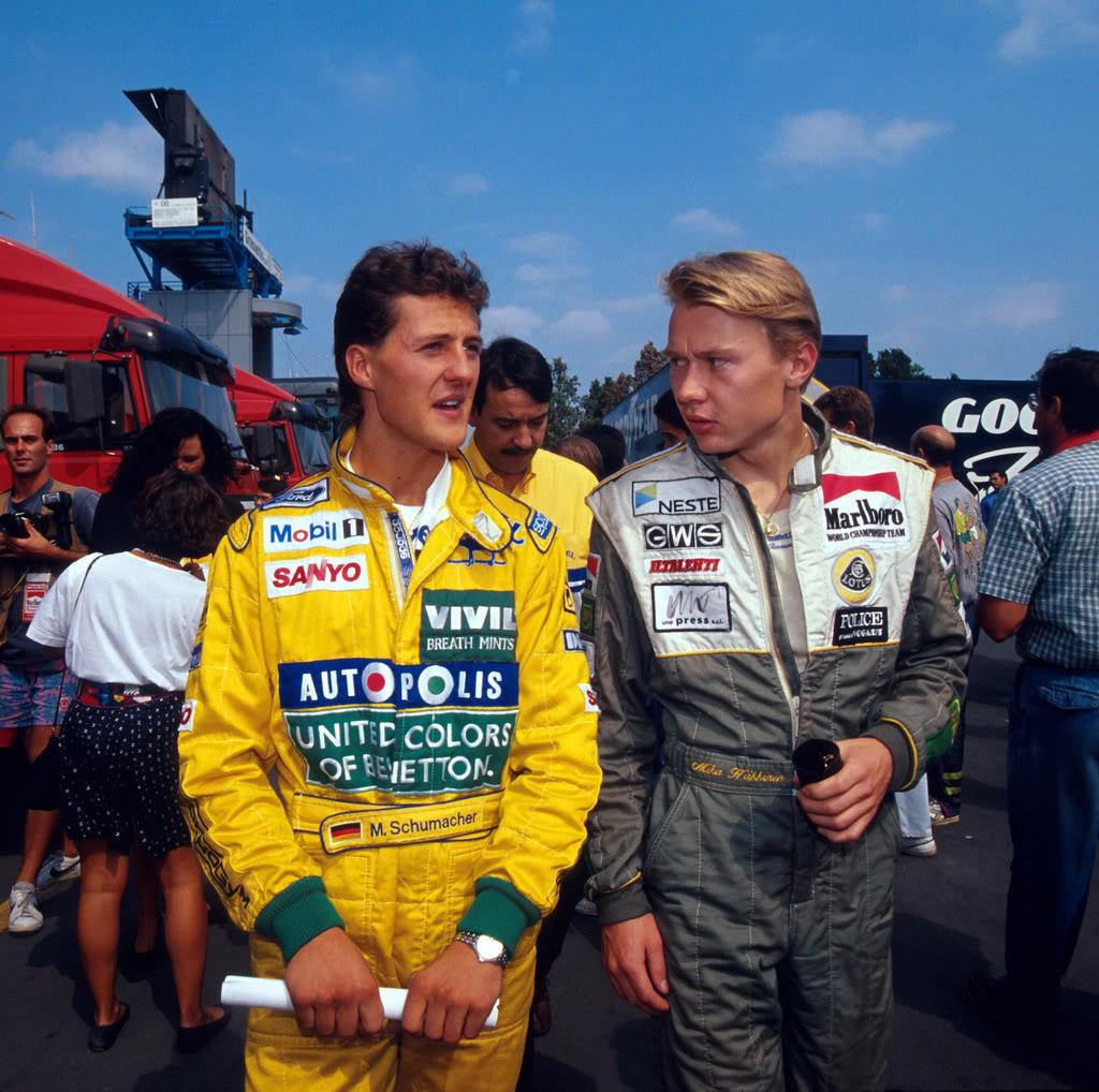 Михаэль Шумахер и Мика Хаккинен на Гран-при Италии 1991