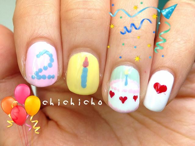 Birthday Cake Nail Art Chichicho