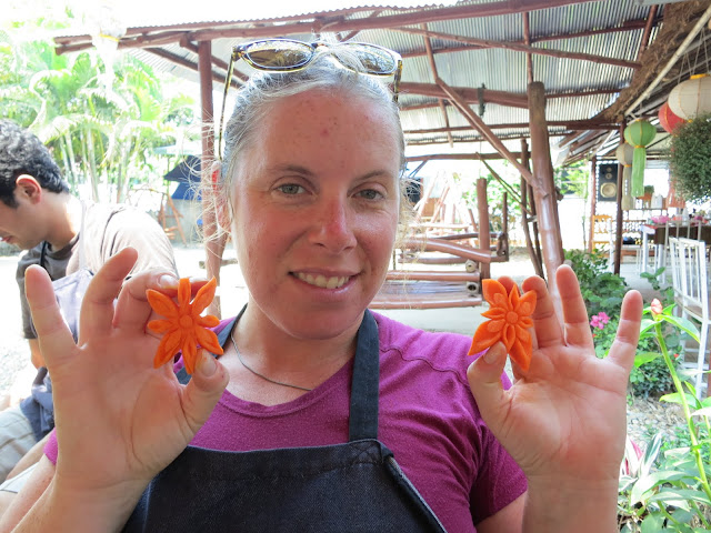 Heather's carved carrot flowers.