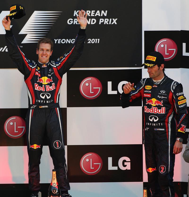Себастьян Феттель и Марк Уэббер на подиуме Гран-при Кореи 2011