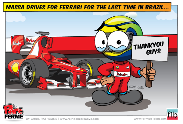 последняя гонка Фелипе Массы за Ferrari - комикс Chris Rathbone по Гран-при Бразилии 2013