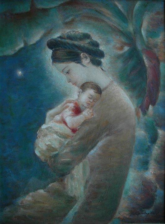 Ảnh mẹ ôm ru con ngủ