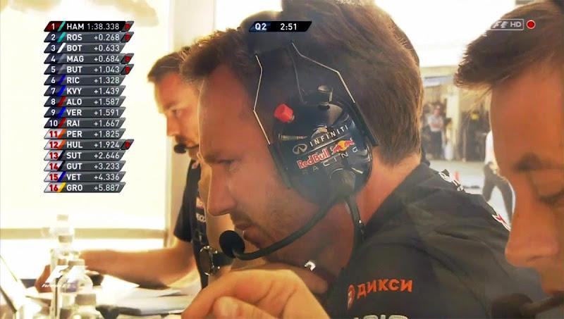 Кристиан Хорнер с логотипом Дикси на плече на Гран-при России 2014